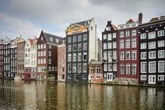 阿姆斯特丹老四分之一建筑学 免版税库存照片