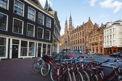 阿姆斯特丹自行车停车 图库摄影