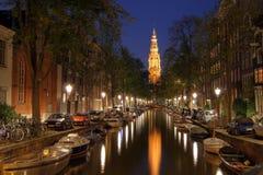 阿姆斯特丹荷兰暮色zuiderkerk 免版税图库摄影