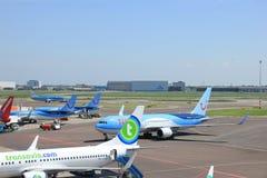 阿姆斯特丹荷兰-第13 2016年:在平台的飞机 图库摄影
