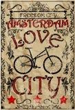 阿姆斯特丹葡萄酒自行车人图表传染媒介T恤杉设计 库存图片