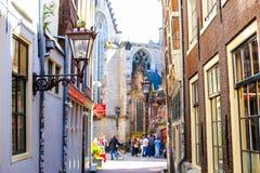 阿姆斯特丹街道,在灯笼,荷兰的焦点 库存图片