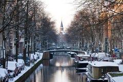 阿姆斯特丹运河冬天 库存照片