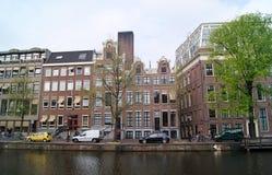 阿姆斯特丹运河和大厦 图库摄影