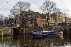 阿姆斯特丹运河在冬天 库存照片