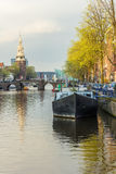 阿姆斯特丹运河场面风景 免版税库存图片