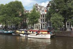 阿姆斯特丹运河场面 免版税库存照片