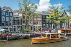 阿姆斯特丹运河巡航场面,荷兰 库存图片