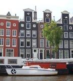 阿姆斯特丹运河房子 免版税库存图片