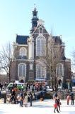 阿姆斯特丹运河教会荷兰语冻结的西部 库存图片