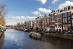 阿姆斯特丹运河看法  免版税图库摄影