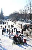 阿姆斯特丹运河荷兰语冻结的重新创建 库存照片