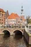 阿姆斯特丹运河街道视图 库存照片