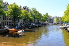 阿姆斯特丹运河视图, Citycenter,荷兰 库存图片