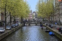 阿姆斯特丹运河视图 库存图片