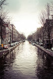 阿姆斯特丹运河视图  库存照片