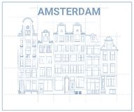 阿姆斯特丹连栋房屋图纸 库存例证