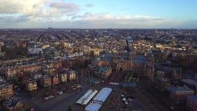 阿姆斯特丹都市风景空中上升的射击,荷兰 股票录像