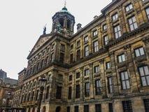 阿姆斯特丹,有历史大厦和运河的荷兰建筑学  免版税库存图片