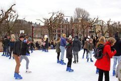 阿姆斯特丹,节日快乐博物馆处所的滑冰场的,荷兰 免版税库存照片