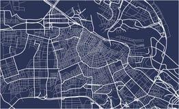 阿姆斯特丹,荷兰城市地图  向量例证