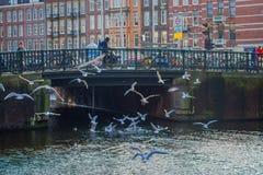 阿姆斯特丹,荷兰, 2018年3月, 10 :人们在阿姆斯特丹的历史部分的一座老石桥梁走,与 库存图片