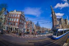 阿姆斯特丹,荷兰, 2018年3月, 10 :它被管理阿姆斯特丹电车的室外看法是电车网络 免版税库存图片