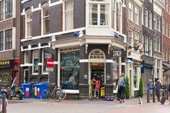 阿姆斯特丹,荷兰- 2017年6月25日:Stach食物咖啡馆的看法在Nieuwe Spiegelstraat街道上的在历史部分 免版税库存照片