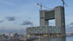 阿姆斯特丹,荷兰- 2017年12月29日 现代楼房建筑站点在市区范围内 免版税库存照片