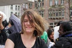 阿姆斯特丹,荷兰- 2016年4月1日:国际枕头战天 免版税库存图片