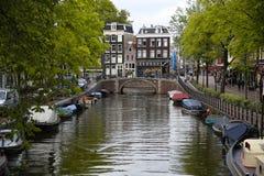 阿姆斯特丹,荷兰- 2015年8月18日:在Prinsengracht的看法 免版税库存照片