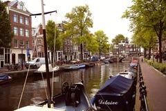 阿姆斯特丹,荷兰- 2015年8月18日:在Prinsengracht的看法 库存图片
