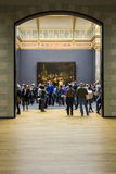 阿姆斯特丹,荷兰- 2月08 :Rijksmuseum的访客 免版税图库摄影