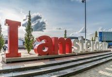 阿姆斯特丹, 2017年9月17日:在前面的iAmsterdam标志 库存图片