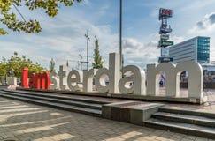 阿姆斯特丹, 2017年9月17日:在前面的iAmsterdam标志 库存照片