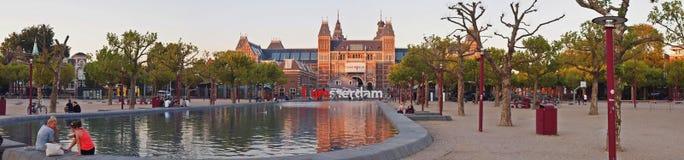 在晚上的Rijksmuseum。 阿姆斯特丹市。 2012年9月09日 免版税库存照片