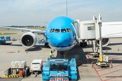 阿姆斯特丹-2014年8月3日:KLM波音737在 免版税库存图片