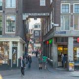 阿姆斯特丹/荷兰- 9/12/14-著名街道在阿姆斯特丹 免版税库存照片
