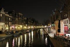 阿姆斯特丹canel在晚上 库存照片