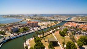 阿威罗,葡萄牙渠道顶视图天线 免版税图库摄影