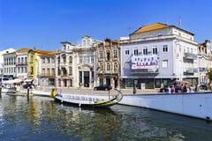 阿威罗/葡萄牙2017年8月13日 从看见的阿威罗出海口 库存照片