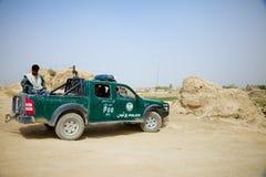 阿富汗国家警察在使命去 免版税图库摄影