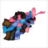 阿富汗映射 五颜六色的水彩 库存例证