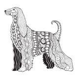 阿富汗猎犬狗zentangle传统化了,导航,例证, freeh 免版税库存图片