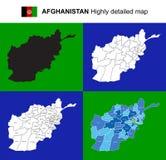 阿富汗-与地区的传染媒介高度详细的政治地图, 库存图片