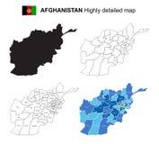 阿富汗-被隔绝的传染媒介高度详细的政治地图与 免版税库存照片