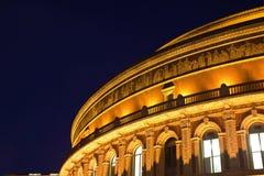 阿尔伯特大厅伦敦晚上皇家场面 免版税库存图片
