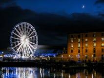 阿尔伯特船坞在晚上,利物浦 库存照片