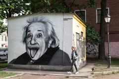 阿尔伯特・爱因斯坦街道画画象  免版税库存照片