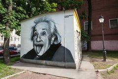 阿尔伯特・爱因斯坦街道画画象  库存照片